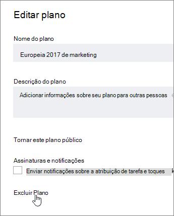 Em Editar um plano, clique em Excluir plano