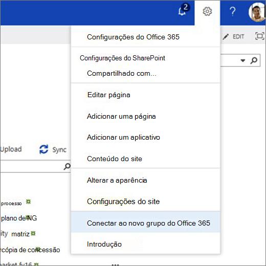 Esta imagem mostra o menu do ícone de engrenagem e seleciona conectar-se ao novo grupo do Office 365.