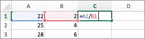 Exemplo do uso de duas referências de célula em uma fórmula