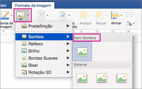 Na guia Formato da Imagem, a opção Efeitos de Imagem é realçada.