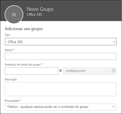 Criar um novo Grupo do Office 365, uma nova lista de distribuição ou um novo grupo de segurança