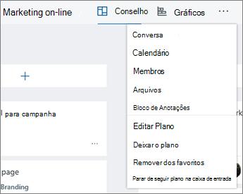 Clique nas reticências para obter uma lista completa das ferramentas de Planejador