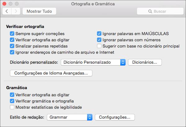 Configurações de alterações que afetam a verificação ortográfica e gramatical na caixa de diálogo Ortografia e Gramática.