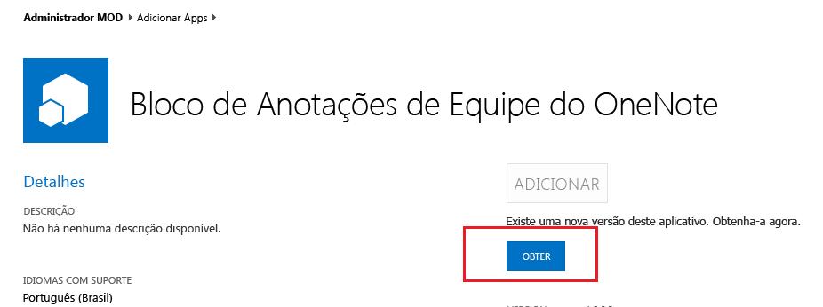 Captura de tela da caixa de diálogo de atualização do aplicativo Criador de Bloco de Anotações de Equipe.