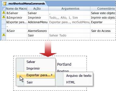 Um menu de atalho que contém um submenu
