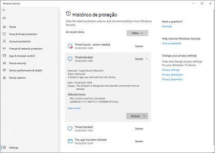 O painel Histórico de proteção na segurança do Windows mostrando vários exemplos de incidentes.