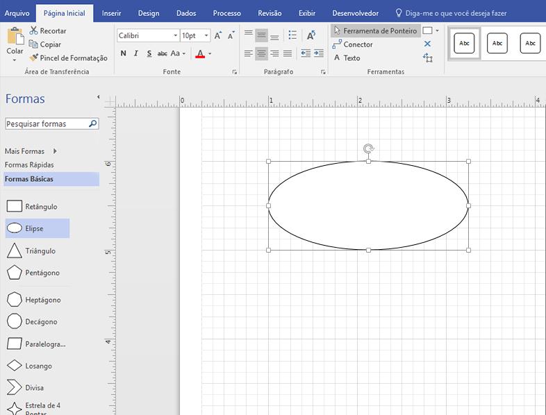 Arraste uma forma do estêncil Formas básicas para o painel de desenho.