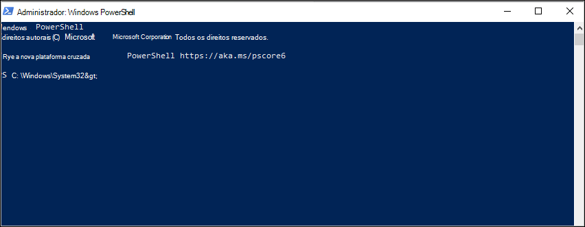 Captura de tela: prompt comando do PowerShell em C:\Windows\System32