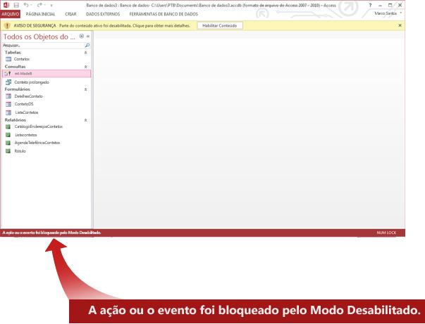 A barra de status exibe uma mensagem sobre conteúdo bloqueado