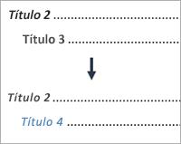 Mostra a alteração de uma entrada de nível 3 para uma entrada de nível 4