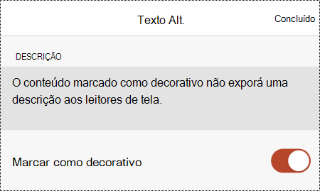 A opção Marcar como decorativa selecionada na caixa de diálogo Texto Alt no PowerPoint para iOS.