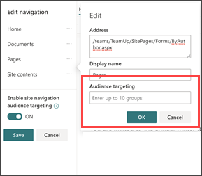 Caixa de diálogo direcionamento de audiência de navegação para inserir grupos