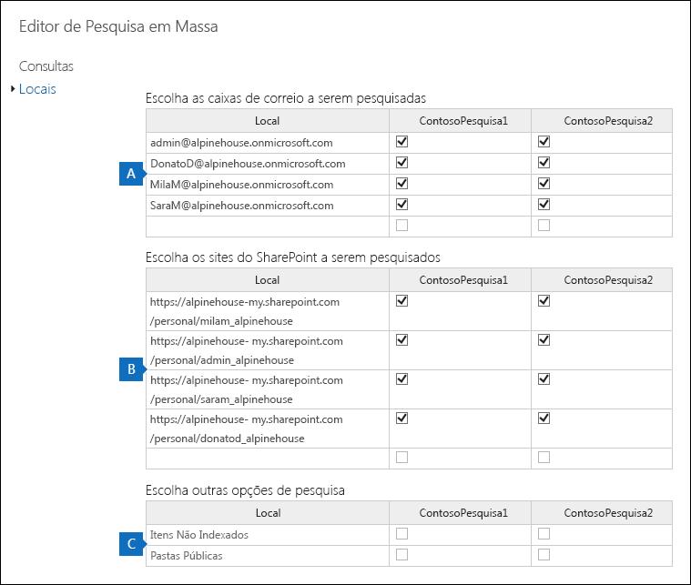 Clique em editor de local de massa de habilitar e clique em locais para adicionar ou remover locais de conteúdo