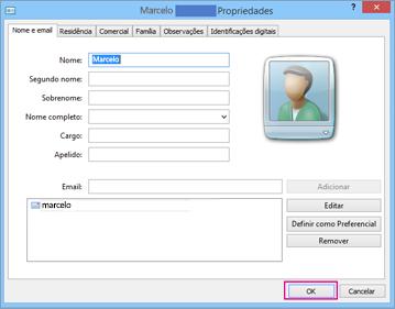 Escolha OK para cada contato que deseja importar para o arquivo .csv.