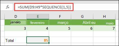 Use constantes em fórmulas. Neste exemplo, utilizamos =SOMA(D9:H(*SEQUÊNCIA(1;5))