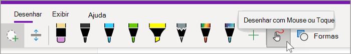 """captura de tela da guia de desenho de OneNote para Windows 10 com o mouse pairando sobre o botão """"Desenhar com Mouse ou Toque"""""""