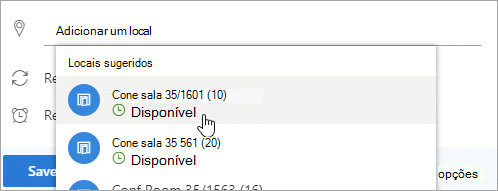 Uma captura de tela do menu locais sugeridos
