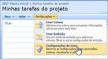 No botão Configurações, clique em configurações da lista