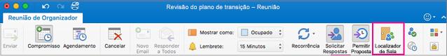 Faixa de opções do Outlook com o botão Localizador de Salas realçado