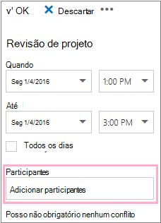 Painel Detalhes mostrando a caixa Participantes para usar com o Assistente de Agendamento