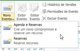 Novo evento de calendário