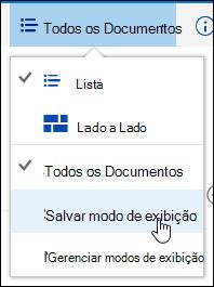 Salvar uma exibição personalizada de uma biblioteca de documentos no Office 365