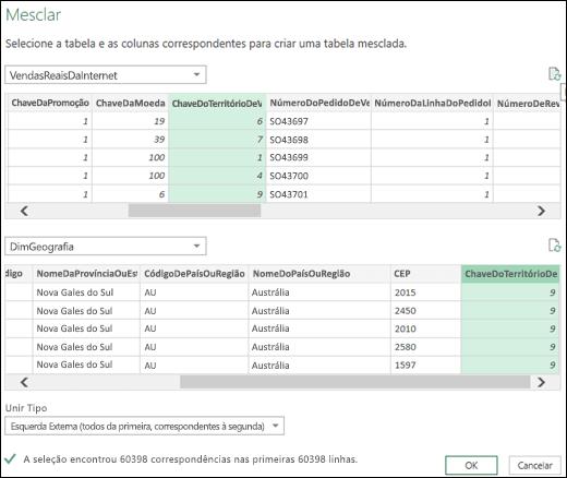 Power Query - Atualizar visualizações na caixa de diálogo Mesclar Consultas