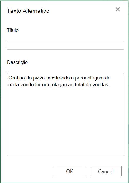 Caixa de diálogo Texto Alternativo no Excel para a Web.