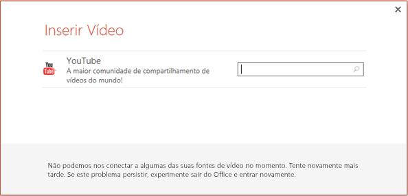 Esta é a caixa de diálogo Inserir Vídeo Online no PowerPoint 2013.