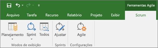 Captura de tela da faixa de opções do Project mostrando a guia Ferramentas do Agile
