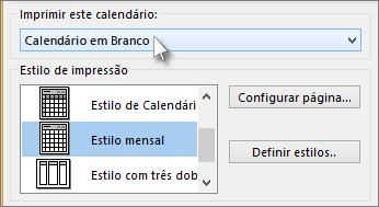 Selecionar o nome do calendário que você deseja imprimir