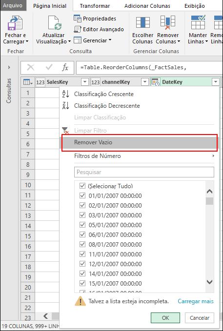 Power Query - Remover espaços em branco usando o menu Filtro de Coluna