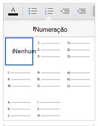 Estilos de numeração