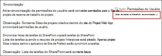 Sincronizar listas de tarefas do SharePoint