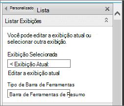 Modo de exibição de lista Editar propriedades, seção de modos de exibição de lista