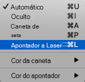 Escolha o apontador laser no menu pop-up