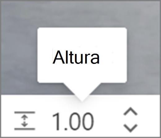 Interface do usuário de altura