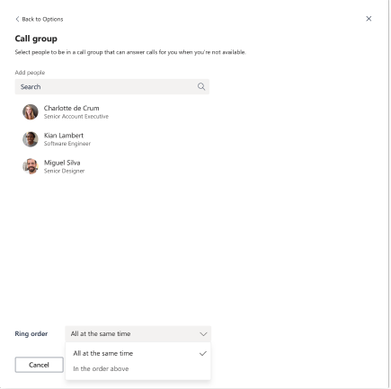 Caixa de diálogo grupo de chamadas