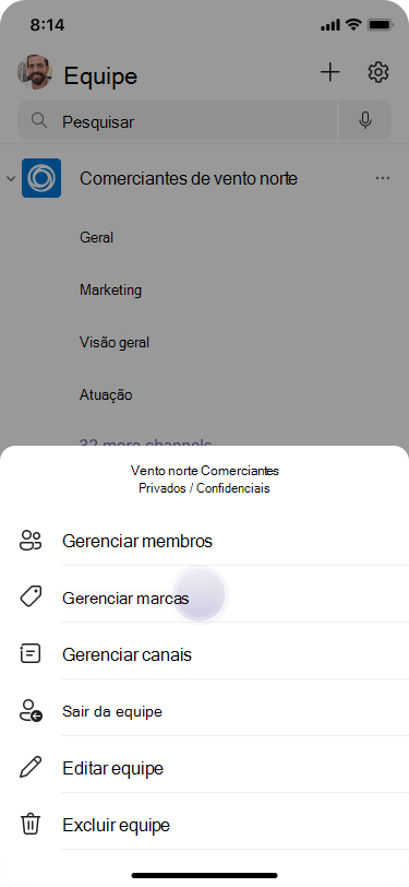 Gerenciar marcas no Teams usando iOS
