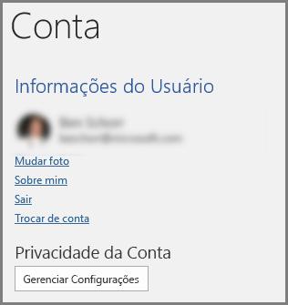 Painel da Conta mostrando o botão Privacidade da Conta, Gerenciar Configurações