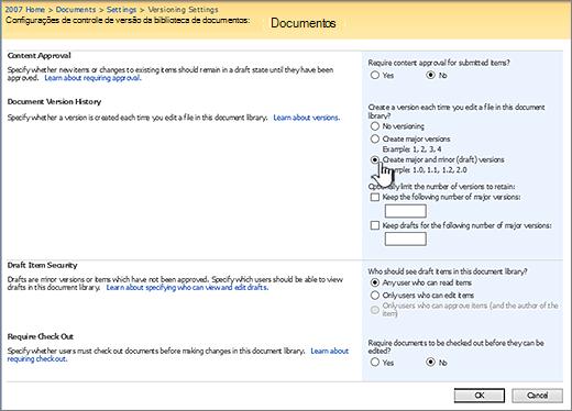 Configurações de controle de versão para ativar o controle de versão, aprovação e exigir check-in