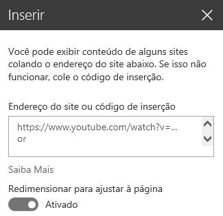 Captura de tela da caixa de diálogo de código de inserção no SharePoint.
