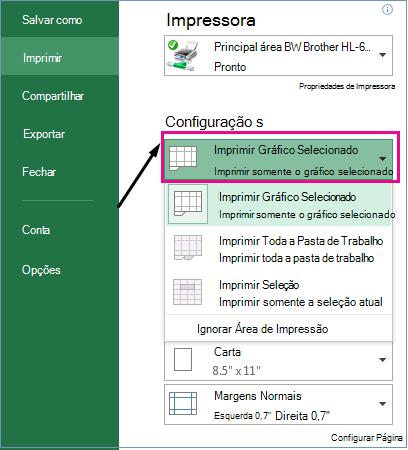 No menu suspenso Configurações, identifique o que você deseja imprimir.