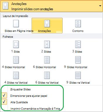Opções de layout extra