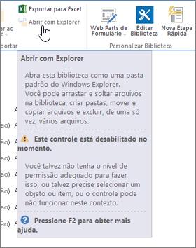 Opção Abrir com Explorer selecionada, mas não habilitada.