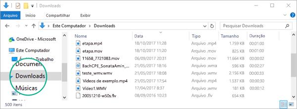 O arquivo convertido é copiado para a pasta Downloads do computador