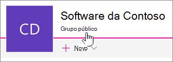 O subtítulo que grupo mostrará em sites conectados de grupo