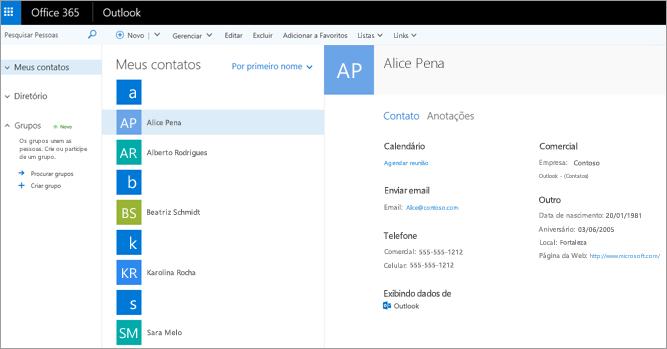 Após importar os contatos, é assim que eles aparecem no Outlook na Web.