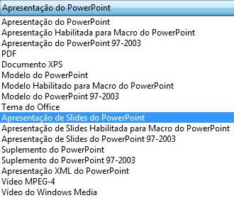 Salvar sua apresentação como uma Apresentação do PowerPoint.
