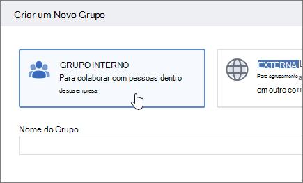 Uma captura de tela mostrando a tela criar um grupo no Yammer com grupo interno selecionado.